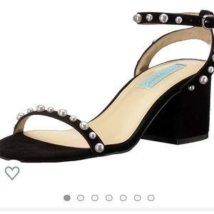 Betsey Johnson Black Pearl Ankle-Strap Sanda